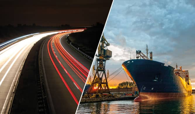 a-collage-of-an-open-road-and-a-cargo-ship